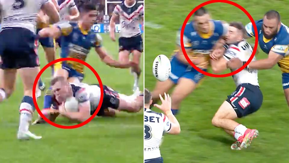 Seen here, two incidents of foul play involving the Parramatta Eels against the Roosters in the NRL.