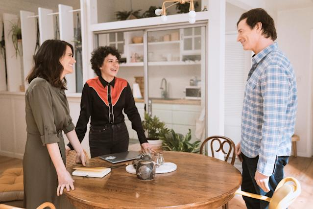 Amy Landecker, Alia Shawkat, and Huebel in Season 4 of <em>Transparent</em>. (Photo: Amazon)