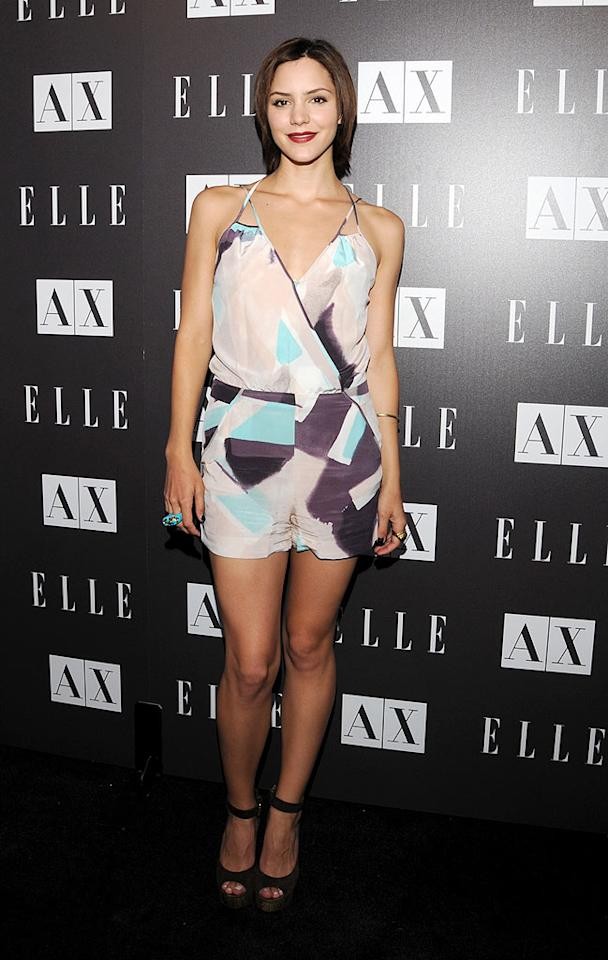 """American Idol"" alum Katharine McPhee showed off her toned gams in a silk, pastel romper by A/X Armani Exchange (natch). Mark Sullivan/<a href=""http://www.wireimage.com"" target=""new"">WireImage.com</a> - May 25, 2010"
