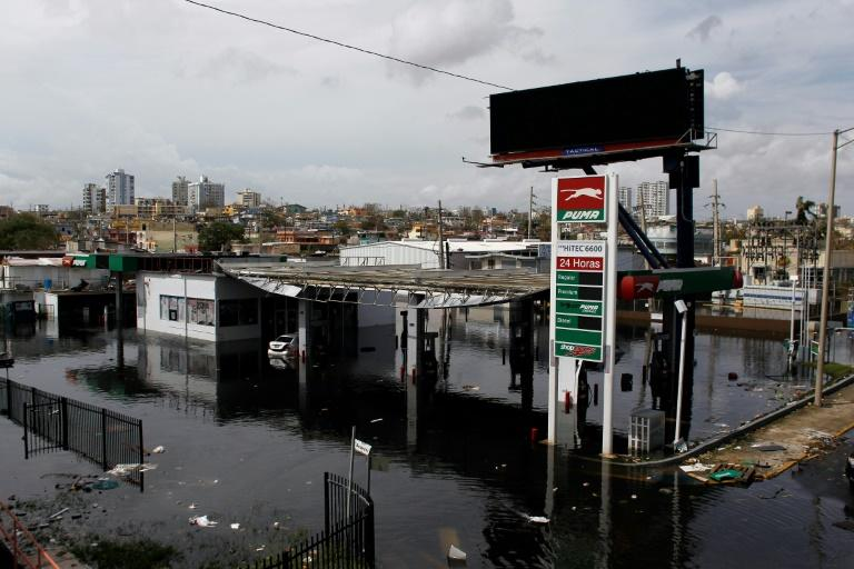 A flooded gas station in San Juan, Puerto Rico, following Hurricane Maria