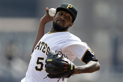 Pittsburgh Pirates starting pitcher James McDonald delivers during the first inning of a baseball game against the Chicago Cubs, Thursday, April 4, 2013, in Pittsburgh. (AP Photo/Gene J. Puskar)