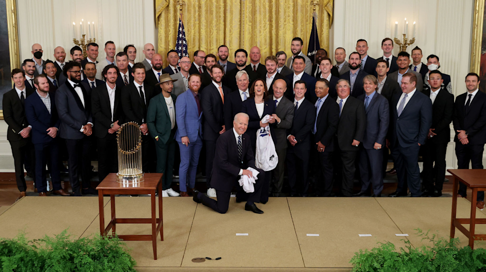 President Biden and Vice President Kamala Harris pose for photos with the 2020 World Series champion Dodgers on July 2, 2021.
