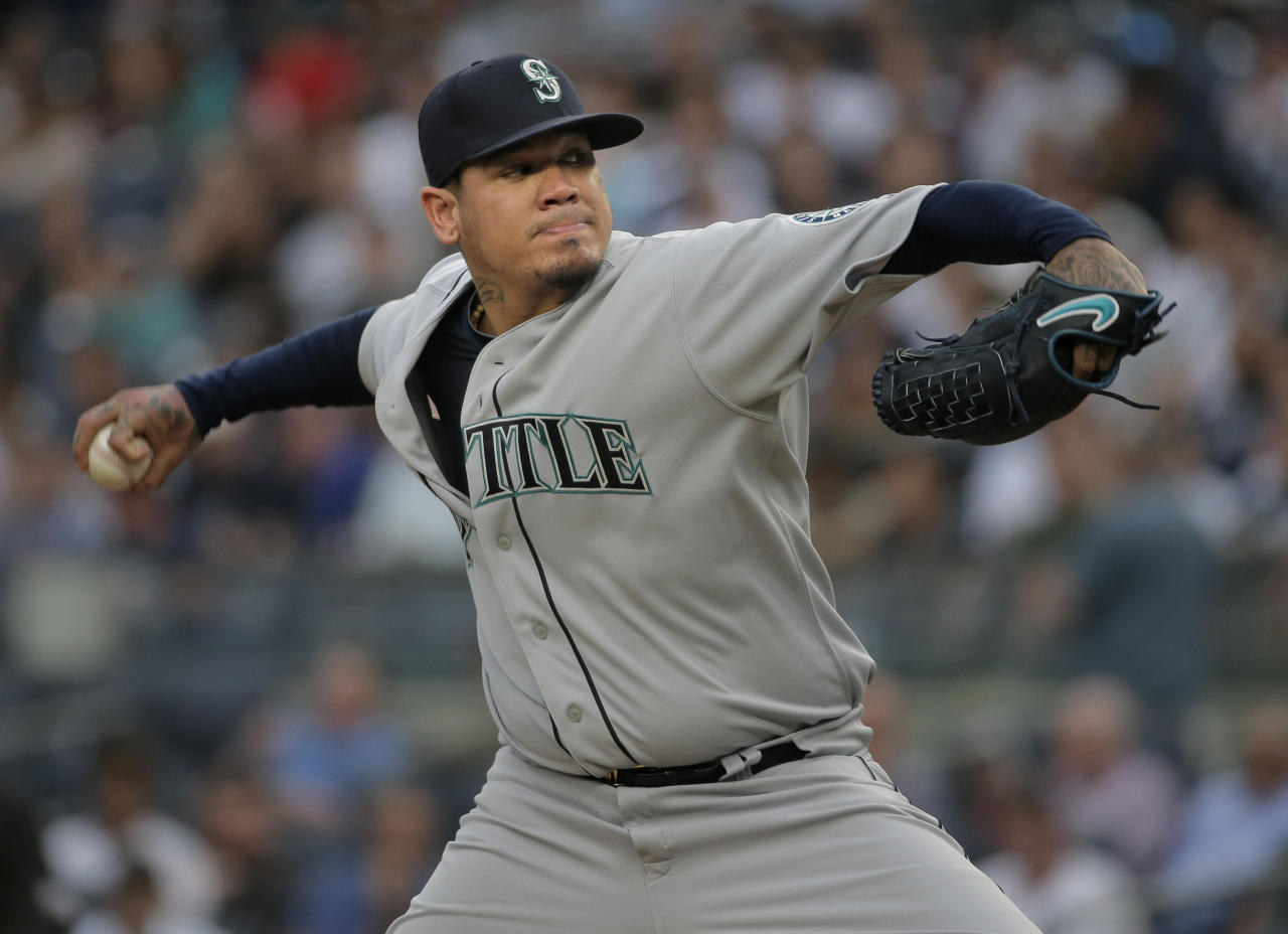 Seattle Mariners starting pitcher Felix Hernandez throws during the first inning of a baseball game against the New York Yankees at Yankee Stadium Wednesday, June 20, 2018, in New York. (AP Photo/Seth Wenig)