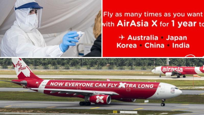 A doctor checks a woman for the coronavirus on the top left, AirAsia X's promotion on its website on top right and AirAsia X planes on the bottom.