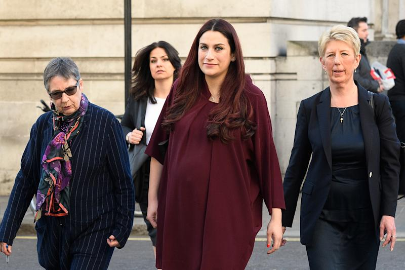 Former Labour and Conservative MPs Ann Coffey (L), Heidi Allen (2L), Luciana Berger (2R) and Angela Smith (R)