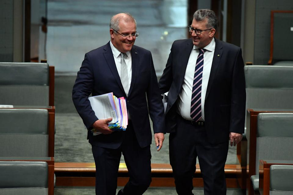 Prime Minister Scott Morrison (left) arrives with Minister for Resources Keith Pitt for Question Time in the House of Representatives at Parliament House.
