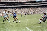 """Maradona's second goal against England in the 1986 World Cup quarter-finals was named as FIFA's """"Goal of the Century"""""""