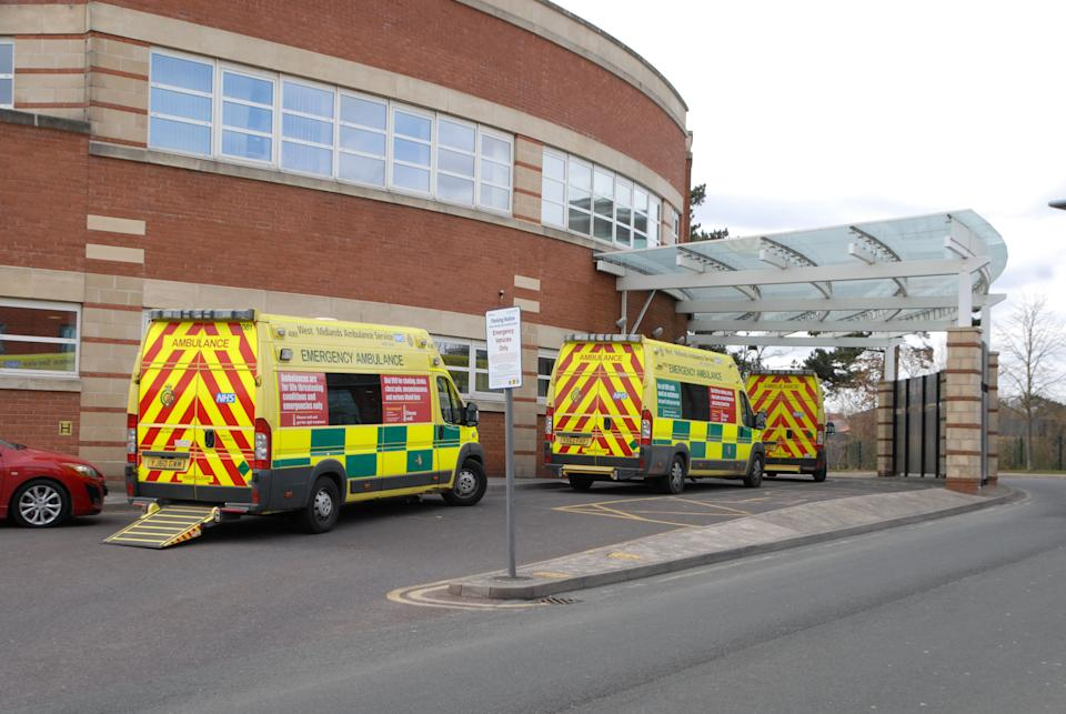"""FILE PICTURE - Ambulances wait outside Accident and Emergency at Worcestershire Royal Hospital.  See SWNS story SWMDambulances.  A staggering 23 ambulances were forced to queue outside an overstretched A&E department just weeks after a patient died in one while waiting for treatment.  The huge jam was the second in a matter of days as staff at Worcestershire Royal Hospital were overwhelmed with patients struck down by flu and the norovirus.  Last Monday (23/12) was the busiest day for the hospital with 182 patient admissions. Paul Brennan, deputy chief executive of Worcestershire Acute Hospitals NHS Trust, said: """"Demand on our emergency departments continues to be very high and the Christmas period has remained very busy with ambulance arrivals up nine per cent this year compared to last year."""