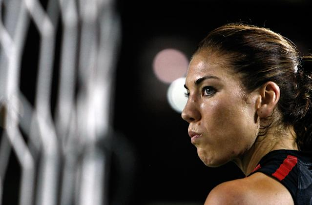 PORTLAND, OR - SEPTEMBER 22: Goal Keeper Hope Solo #1 of the United States warms up against Canada on September 22, 2011 at Jeld-Wen Field in Portland, Oregon. (Photo by Jonathan Ferrey/Getty Images)