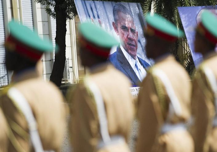 An Ethiopian honour guard stands at attention during the welcoming ceremony for Obama at the National Palace in Addis Ababa on July 27, 2015 (AFP Photo/Simon Maina)