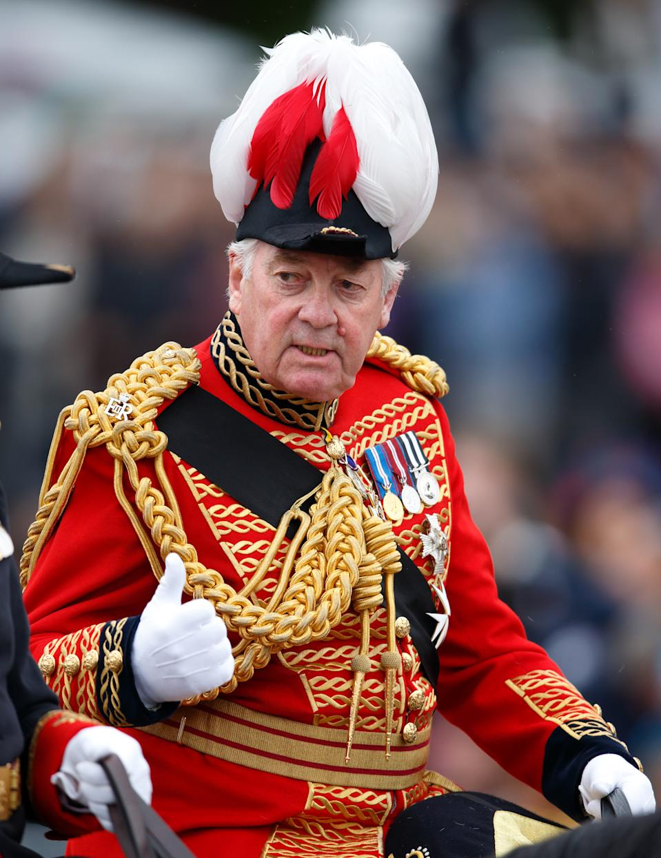 LONDON, UNITED KINGDOM - JUNE 13: (EMBARGOED FOR PUBLICATION IN UK NEWSPAPERS UNTIL 48 HOURS AFTER CREATE DATE AND TIME) Lord Samuel Vestey attends Trooping the Colour on June 13, 2015 in London, England. The ceremony is Queen Elizabeth II's annual birthday parade and dates back to the time of Charles II in the 17th Century, when the Colours of a regiment were used as a rallying point in battle. (Photo by Max Mumby/Indigo/Getty Images)