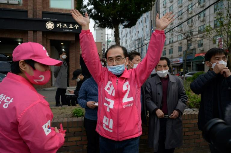 Thae Yong Ho is campaigning for the Gangnam constituency in the South Korean capital Seoul (AFP Photo/Ed JONES)
