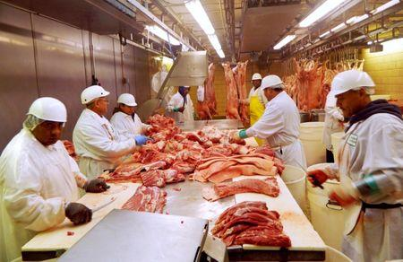 FILE PHOTO: Workers cut pork at Park Packing in Chicago, Illinois July 18, 2015.  REUTERS/Karl Plume/File Photo