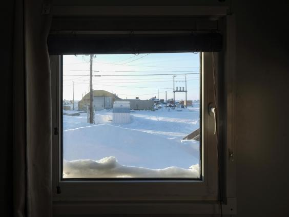 The view from the scientists' dormitory in Utqiagvik (Bonnie Jo Mount)