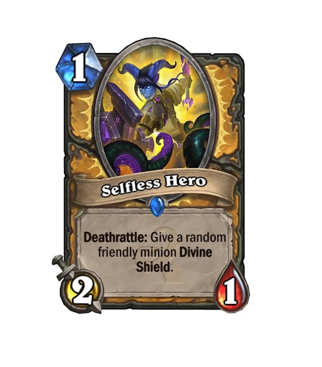 <p>Finally, a strong 1-drop for Paladins. Long stuck to the midrange archetype, Paladins could see an aggro resurgence once Selfless Hero hits their decks.</p>