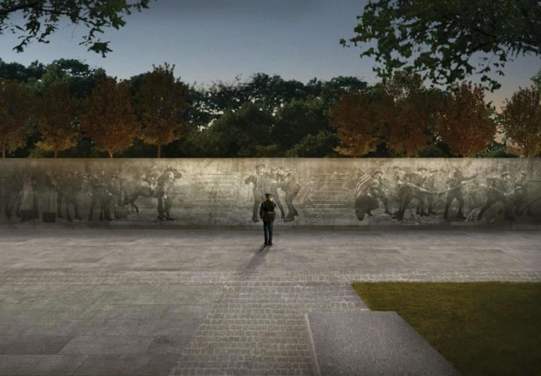 """Artist rendition courtesy of US World War I Centennial Commission, of the design of the World War I Memorial titled """"The Weight of Sacrifice"""" to be built in Washington DC"""