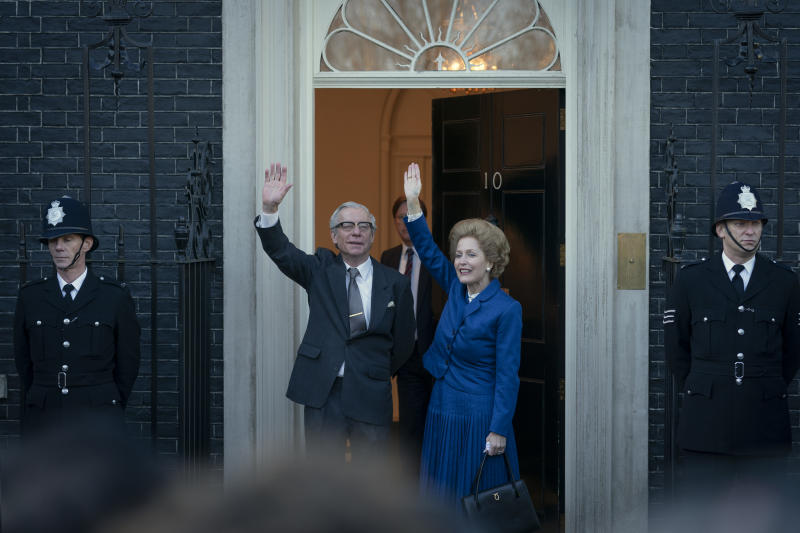 Picture shows: Dennis Thatcher (STEPHEN BOXER) and Margaret Thatcher (GILLIAN ANDERSON)