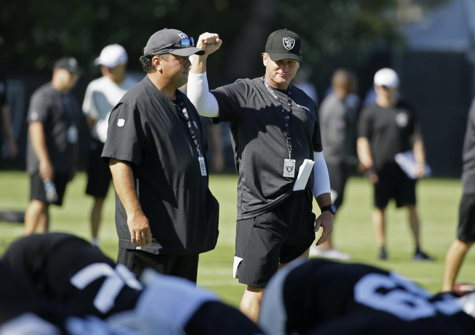 Jon Gruden is entering his second season as Raiders coach. (AP)