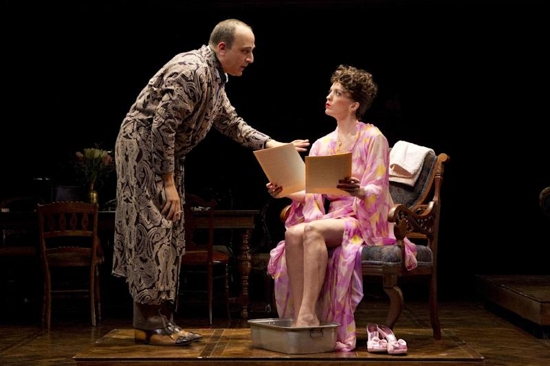 "In an undated publicity photo released by The Public Theater, from left, Julian Fleisher and Kacie Sheik, are shown in a scene from the musical ""February House,"" currently performing off-Broadway from May 8 through June 10, 2012 at The Public Theater in New York.  (AP Photo/The Public Theater, Joan Marcus)"