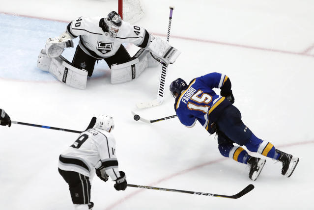 St. Louis Blues' Robby Fabbri (15) is unable to shoot as Los Angeles Kings goaltender Calvin Petersen (40) and Alex Iafallo (19) defend during the third period of an NHL hockey game Monday, Nov. 19, 2018, in St. Louis. (AP Photo/Jeff Roberson)