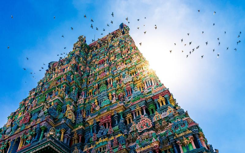 The gloriously colourful Meenakshi temple in Tamil Nadu - val_shevchenko