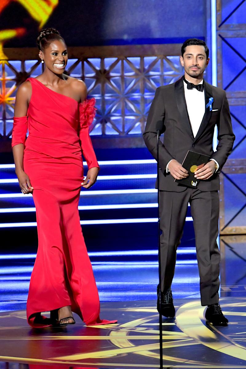 Actors Issa Rae and Riz Ahmed speak onstage during the 69th Annual Primetime Emmy Awards at Microsoft Theater on Sept. 17, 2017 in Los Angeles, California.