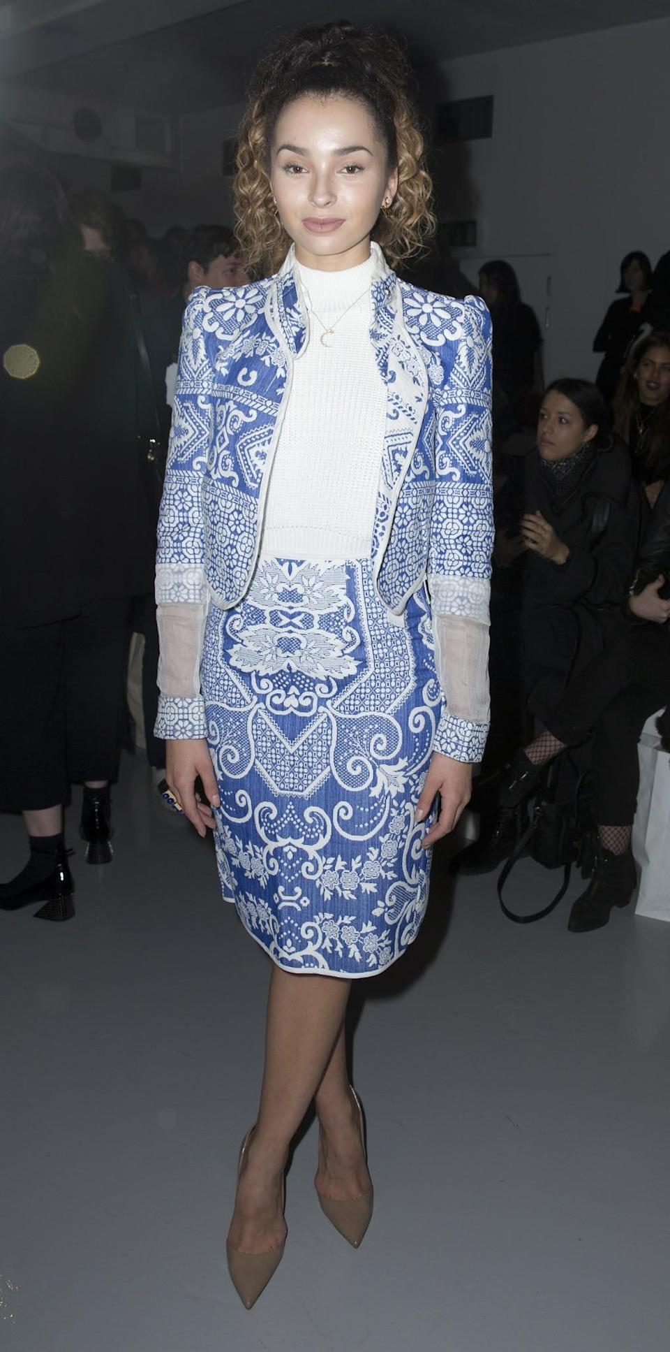 <p>Ella Eyre donned a china-printed skirt suit. <i>[Photo: PA]</i> </p>
