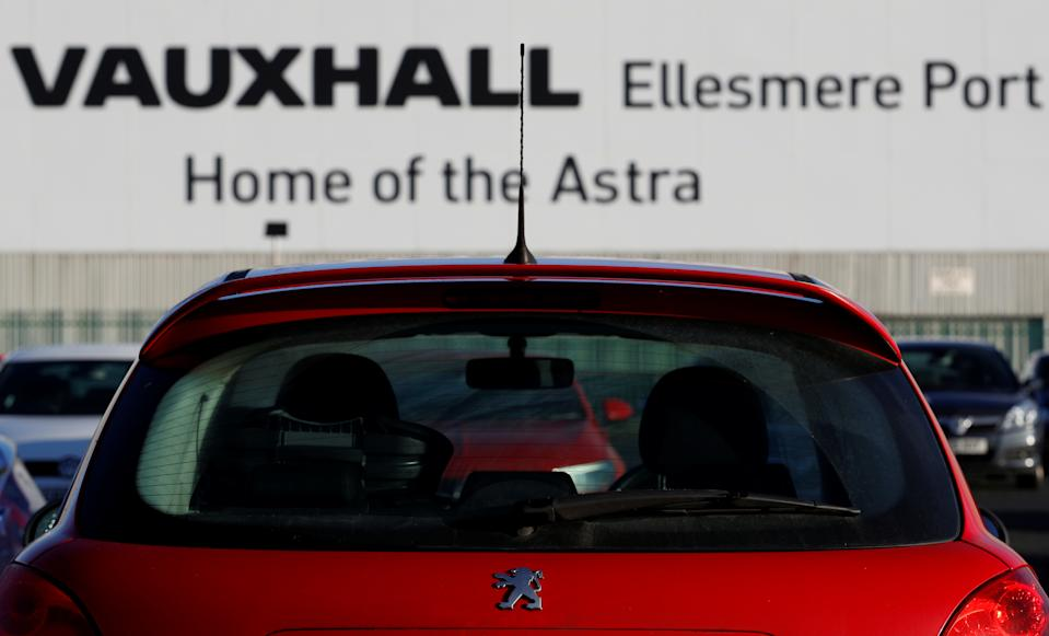 A Peugeot car is seen in the car park of the Vauxhall car plant in Ellesmere Port, Britain, January 10, 2018. REUTERS/Phil Noble