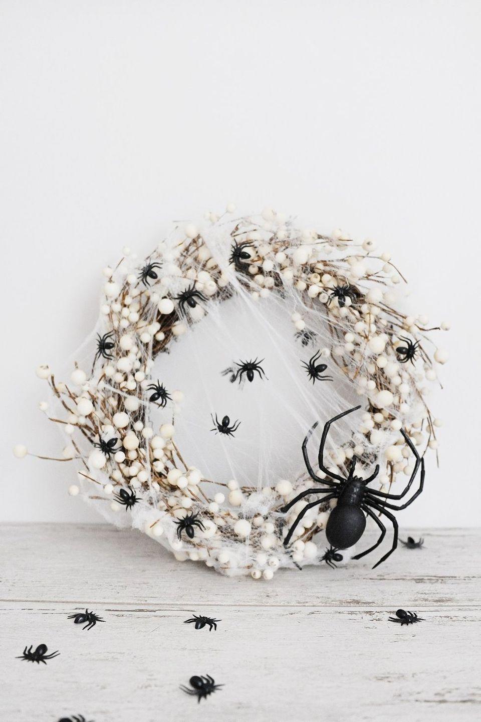 """<p>Equal parts creepy-crawly and sophisticated, this fall wreath is such a fun addition to any porch. It's also incredibly easy to pull together. </p><p><strong>Get the tutorial at <a href=""""https://pinkpeppermintdesign.com/easy-diy-spider-wreath-for-halloween"""" rel=""""nofollow noopener"""" target=""""_blank"""" data-ylk=""""slk:Pink Peppermint Design"""" class=""""link rapid-noclick-resp"""">Pink Peppermint Design</a>.</strong></p><p><strong><a class=""""link rapid-noclick-resp"""" href=""""https://go.redirectingat.com?id=74968X1596630&url=https%3A%2F%2Fwww.walmart.com%2Fip%2FWalfront-50-Pcs-2cm-Halloween-Plastic-Black-Spider-Joking-Toys-Fake-Spider-Decoration-For-Party%2F923296314&sref=https%3A%2F%2Fwww.thepioneerwoman.com%2Fholidays-celebrations%2Fg32894423%2Foutdoor-halloween-decorations%2F"""" rel=""""nofollow noopener"""" target=""""_blank"""" data-ylk=""""slk:SHOP FAUX SPIDERS"""">SHOP FAUX SPIDERS</a><br></strong></p>"""