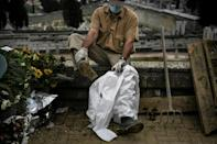 Masks, gloves and overalls cover almost every part of the worker's body