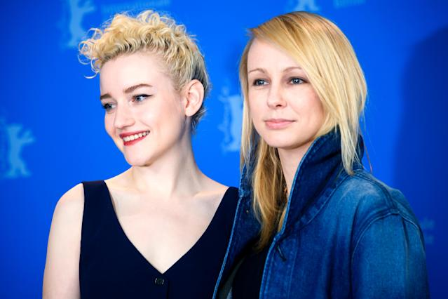 Julia Garner (l-r) and director and screenwriter Kitty Green at Berlin Film Festival. (Gregor Fischer/picture alliance via Getty Images)