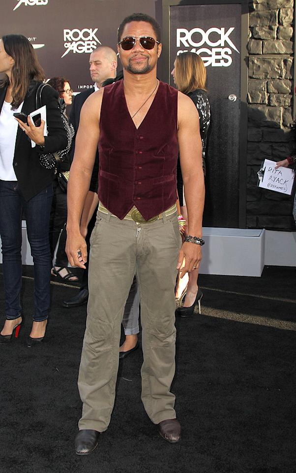 Remember him? It's Cuba Gooding Jr.! Yeah, neither do we. However, we do remember that only Marky Mark could ever get away with wearing a vest sans shirt ... and that was in 1992. (6/8/2012)