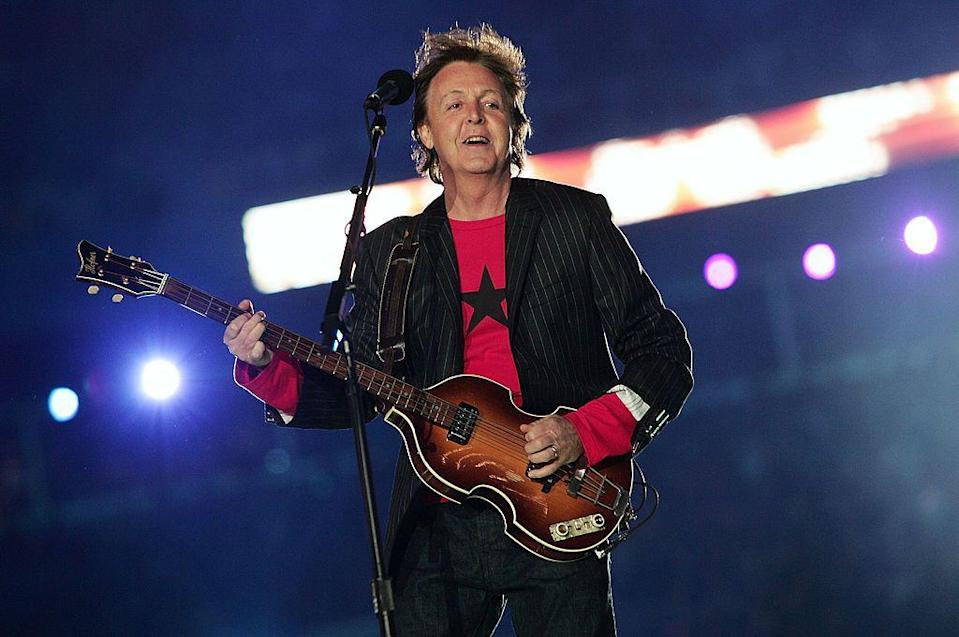 """<p>McCartney wore a red long-sleeve t-shirt and pinstriped blazer for his performance.</p><p><a class=""""link rapid-noclick-resp"""" href=""""https://www.youtube.com/watch?v=SZrpD0mV7Sk&ab_channel=sirpaulru3"""" rel=""""nofollow noopener"""" target=""""_blank"""" data-ylk=""""slk:WATCH NOW"""">WATCH NOW </a></p>"""