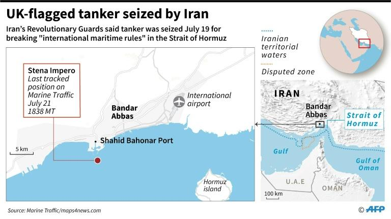 Close-up map locating the last known position of the British-flagged tanker Stena Impero, which was seized by Iran on Friday (AFP Photo/Gal ROMA)