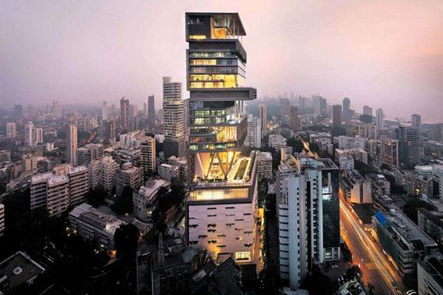 Antilia is a residential complex in South Mumbai, India. It is owned by Mukesh Ambani, chairman of Reliance Industries Limited. This most expensive house is stands at number 1, it  includes a staff of 600 to maintain the residence,and has it's own rooftop helipad!