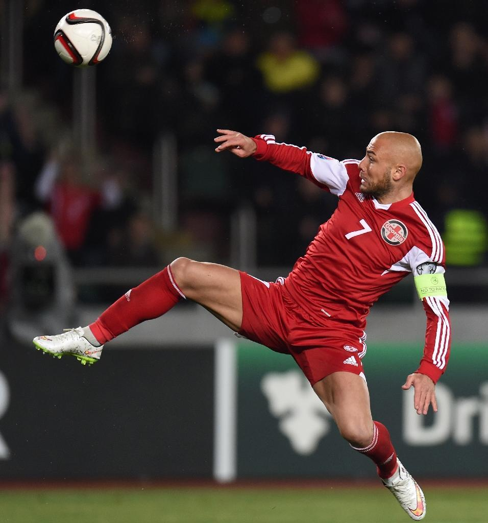 Georgia's Jaba Kankava during the Euro 2016 qualifying match against Germany at the Boris-Paitschadse-Stadium in Tbilisi, Georgia on March 29, 2015 (AFP Photo/Patrik Stollarz)