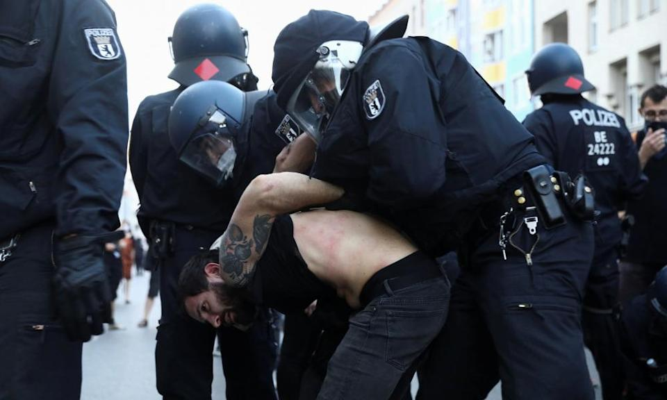 Police officers make an arrest during a protest last weekend