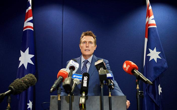 Australia's attorney general Christian Porter speaks during a press conference in Perth - STEFAN GOSATTI/AFP