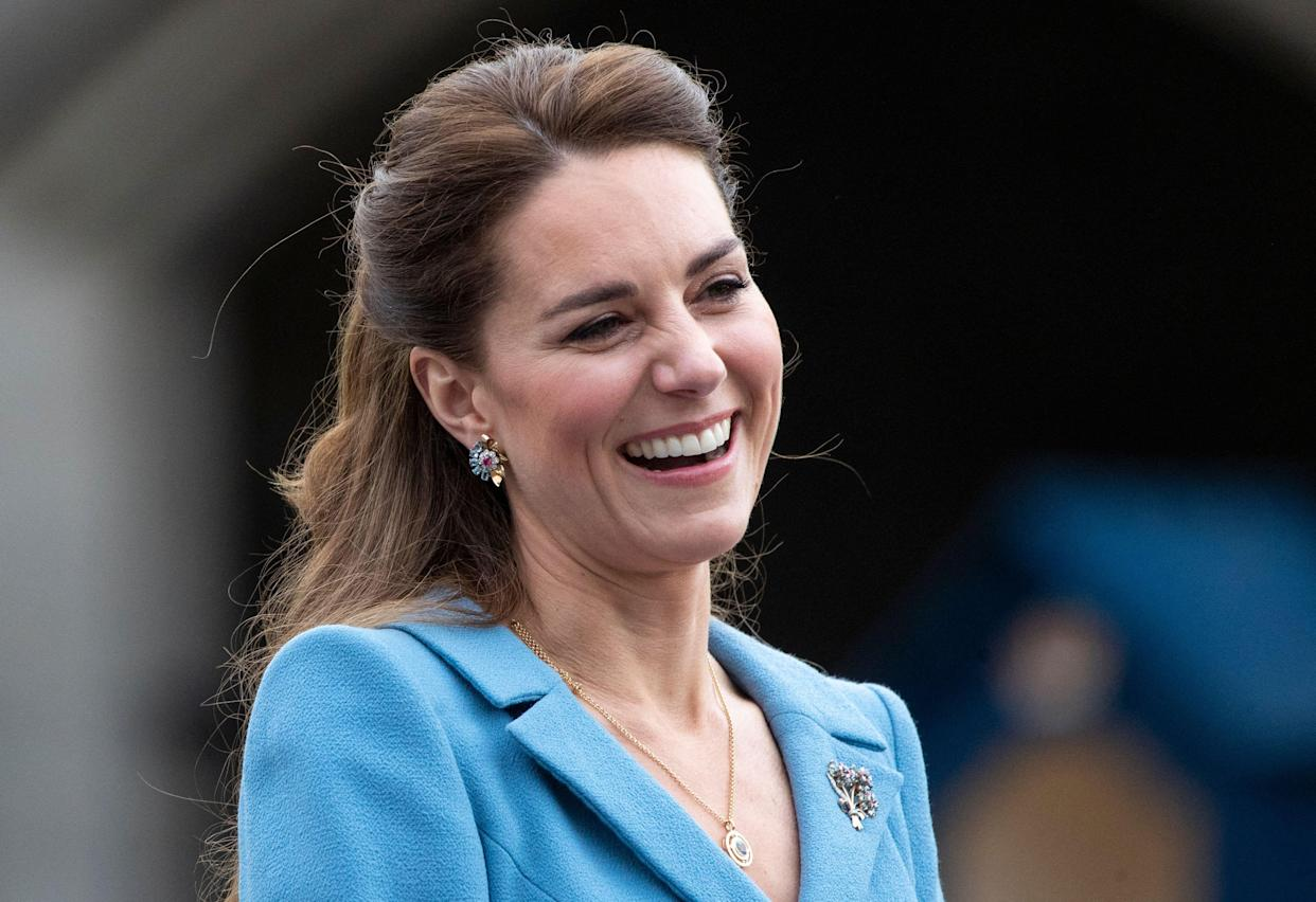 Britain's Catherine, Duchess of Cambridge attends a Beating Retreat by The Massed Pipes and Drums of the Combined Cadet Force in Scotland at the Palace of Holyroodhouse in Edinburgh, Scotland on May 27, 2021, the final day of their week-long visit to the country. (Photo by Jane Barlow / POOL / AFP) (Photo by JANE BARLOW/POOL/AFP via Getty Images)