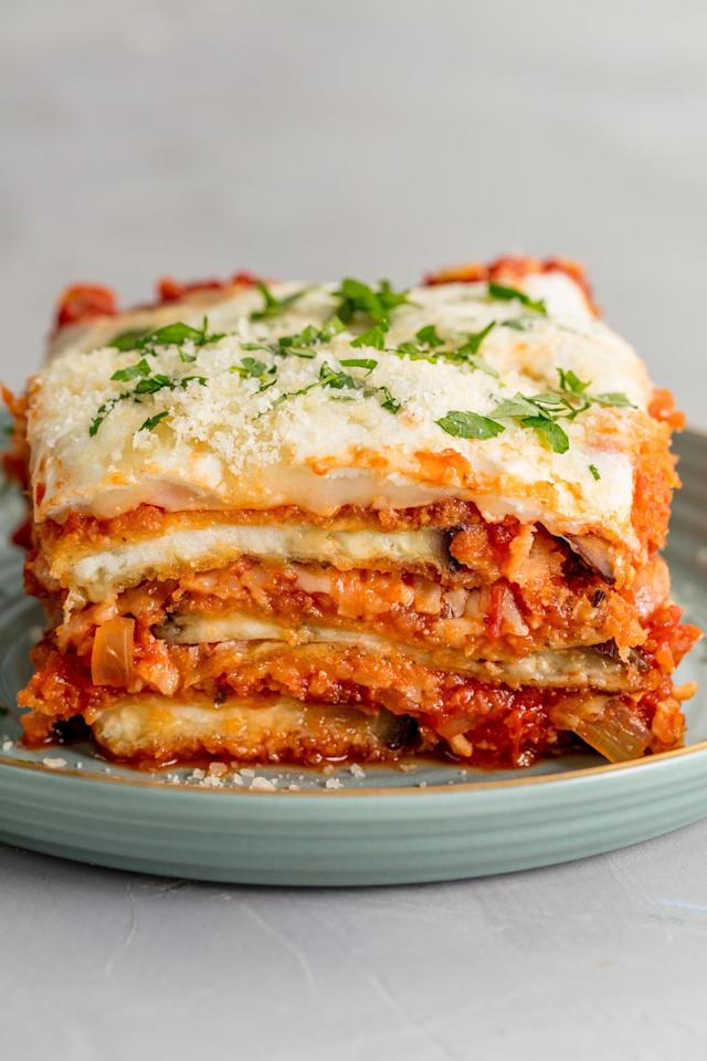"""<p>We promise every step is worth it.</p><p>Get the recipe from <a href=""""https://www.delish.com/cooking/recipe-ideas/recipes/a58245/easy-baked-eggplant-parmesan-recipe/"""" target=""""_blank"""">Delish</a>.</p><p><strong><em><a class=""""body-btn-link"""" href=""""https://www.amazon.com/Bakers-Secret-Cooling-Rack-10/dp/B00091PNTI/?tag=syn-yahoo-20&ascsubtag=%5Bartid%7C1782.g.3779%5Bsrc%7Cyahoo-us"""" target=""""_blank"""">BUY NOW</a> Cooling Racks, $10, <span class=""""redactor-unlink"""">amazon.com</span></em></strong></p>"""
