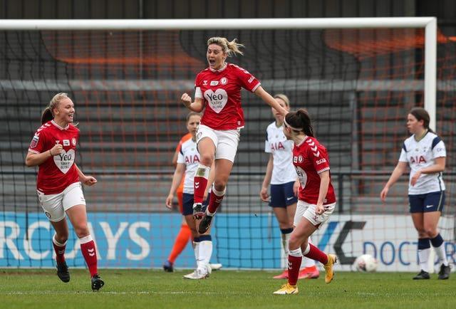 Gemma Evans, centre, helped Bristol City move off the bottom of the WSL after a 1-1 draw at Tottenham (Kieran Cleeves/PA)