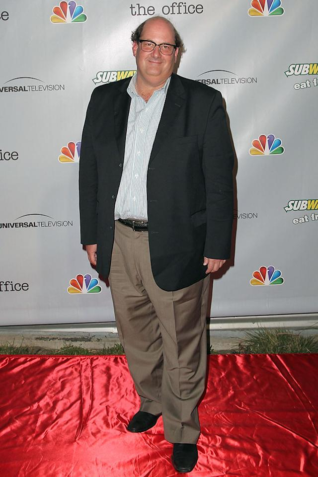 "Brian Baumgartner arrives at ""The Office"" series finale wrap party at Unici Casa Gallery on March 16, 2013 in Culver City, California."