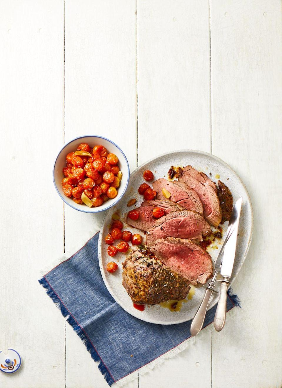 """<p>Lamb top round (a tender, relatively quick-cooking part of the leg) with garlic, rosemary, thyme and grape tomatoes will impress at your family's seder.</p><p><em><a href=""""https://www.goodhousekeeping.com/food-recipes/a35471038/best-roast-lamb-recipe/"""" rel=""""nofollow noopener"""" target=""""_blank"""" data-ylk=""""slk:Get the recipe for Roast Lamb »"""" class=""""link rapid-noclick-resp"""">Get the recipe for Roast Lamb »</a></em></p>"""