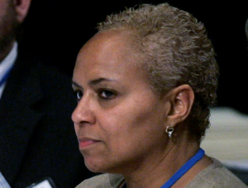 FILE- In this May 31, 2008 file photo, Tina Flournoy, then Democratic National Committee Rules and Bylaws committee member, during a hearing in Washington. Vice President-elect Kamala Harris has named veteran Democratic strategist Tina Flournoy as her chief of staff. (AP Photo/Susan Walsh)