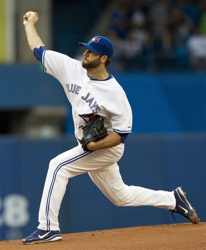 Toronto Blue Jays starting pitcher Brandon Morrow delivers to the Tampa Bay Rays during the first inning of a baseball game, Monday, May 14, 2012, in Toronto. (AP Photo/The Canadian Press, Frank Gunn)