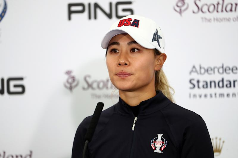 Danielle Kang of Team USA speaks to the media ahead of the Solheim Cup at Gleneagles