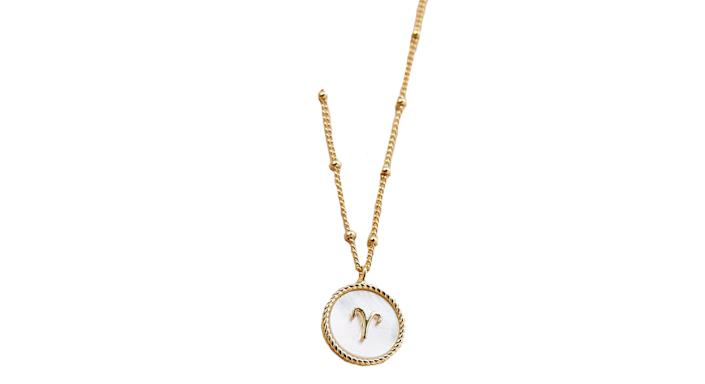 Mother-of-Pearl Zodiac-Coin Necklace