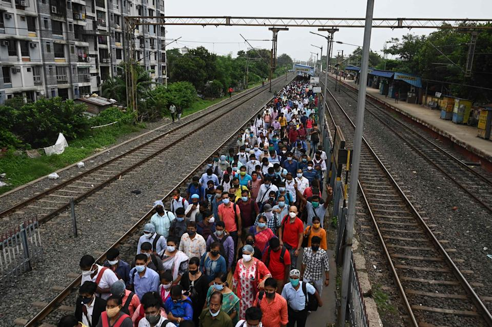 People continue to crowd in Indian states even as experts warn of impending  third wave (AFP via Getty Images)