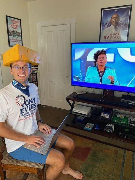 PHOTO: Ryan Sorenson, a Wisconsin delegate for the Democratic National Convention, watching proceedings for the virtual convention at home. (Courtesy Ryan Sorenson)