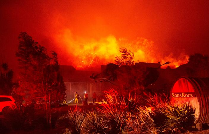The Soda Rock Winery goes up in flames, caught up in the Kincade Fire in Healdsburg, California.
